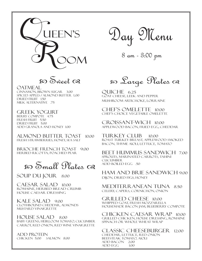 Day and Cafe Menu: Page 1