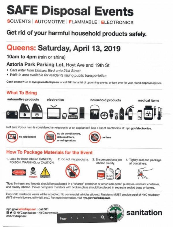 SAFE-ly Dispose of Your Unwanted Hazardous Materials at Astoria Park